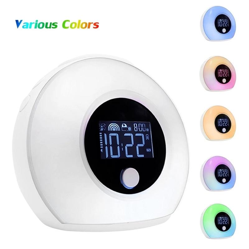 5 Вт Светодиодный умный сенсорный Ночной светильник Будильник Зарядка через usb цветной bluetooth музыкальный динамик с ЖК цифровым дисплеем времени Рабочий стол - 2