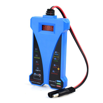 12V Digital LED Display Battery Tester Smart Alarm Battery Voltmeter Alternator Charging Analyzer With Clips for Car Motorcycle image