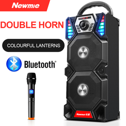 Newmine A1 Portable DJ Player Wireless Bluetooth Outdoor High-power Party LED Light Audio Subwoofer Speakers Support Computer