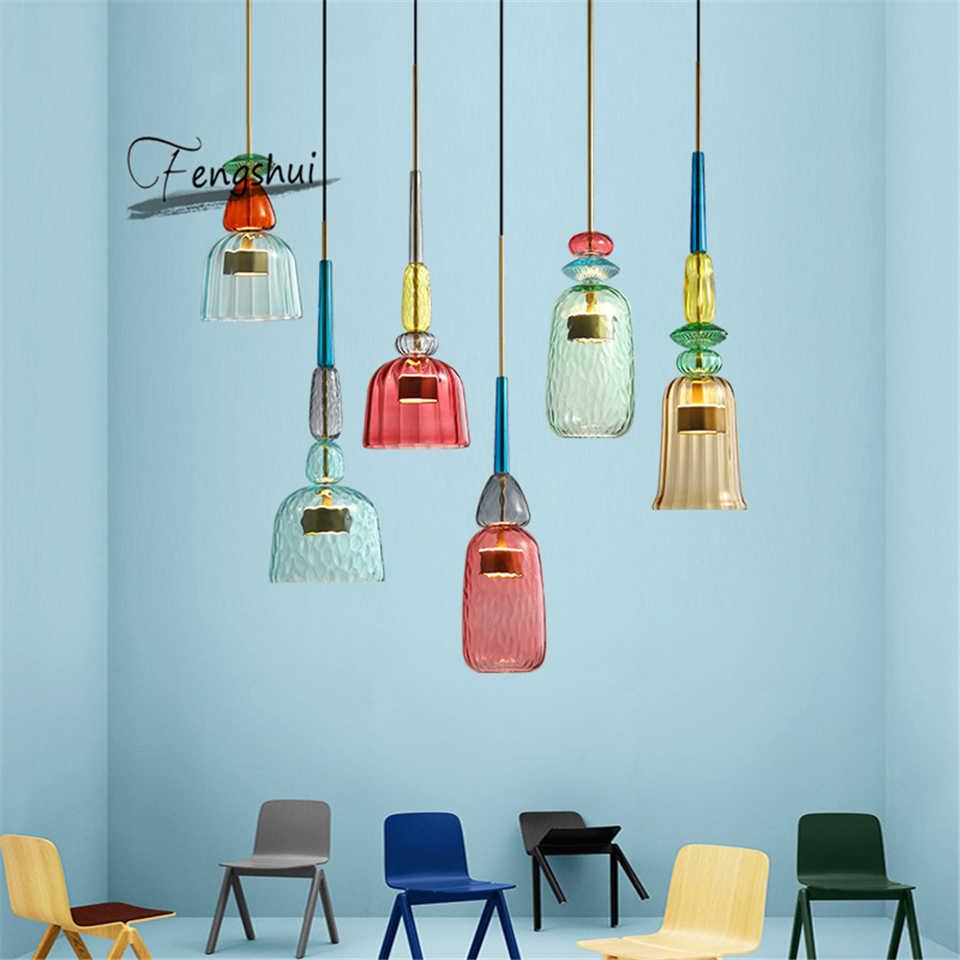 Luces colgantes modernas lámpara colgante de vidrio ámbar americano colorido Comedor Cocina hogar planetario de decoración lámpara lustre