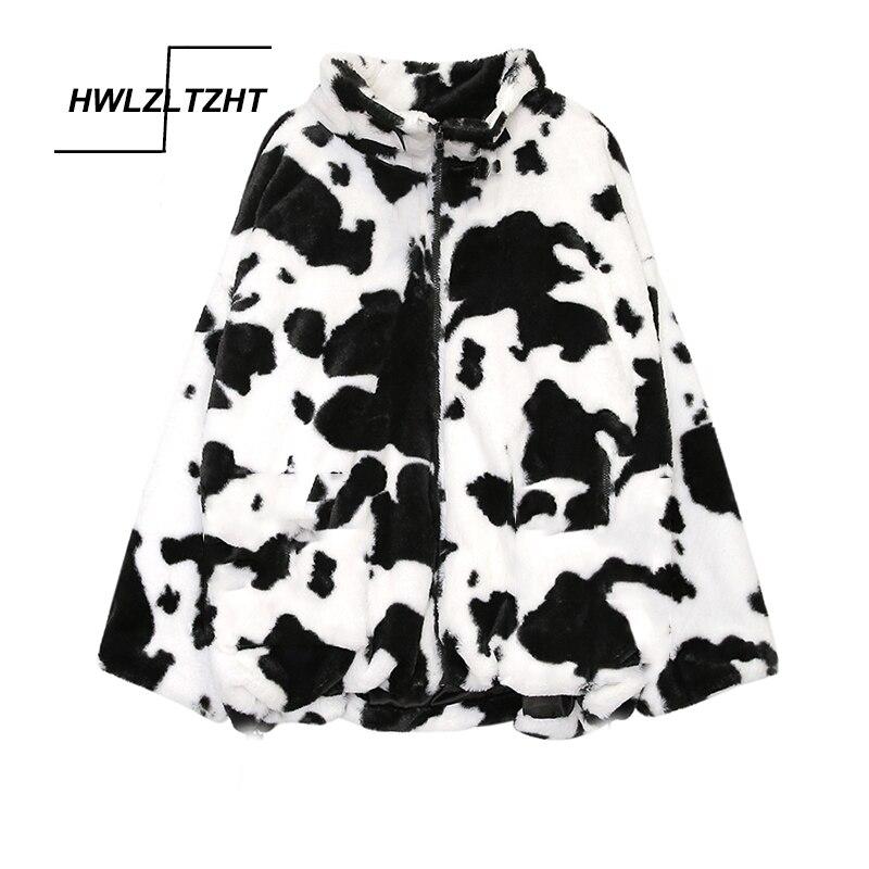 HWLZLTZHT Cow Print Lamb Wool Coats Plus Size Women Clothes Autumn Jacket Winter Warm Jacket Women Outerwear Harajuku Streetwear