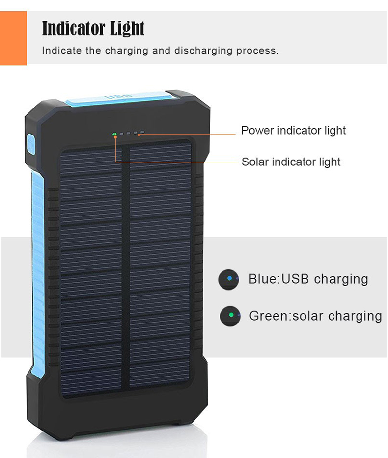 Waterproof Solar Power Bank with Polycrystalline Solar Panel with 2 USB Output Ports and Flashlight 5