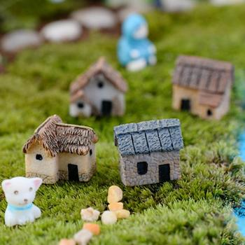 1/4Pcs Micro Landscape Miniature Village Stone House DIY Garden Ornament Cute Home Decoration Garden Props image
