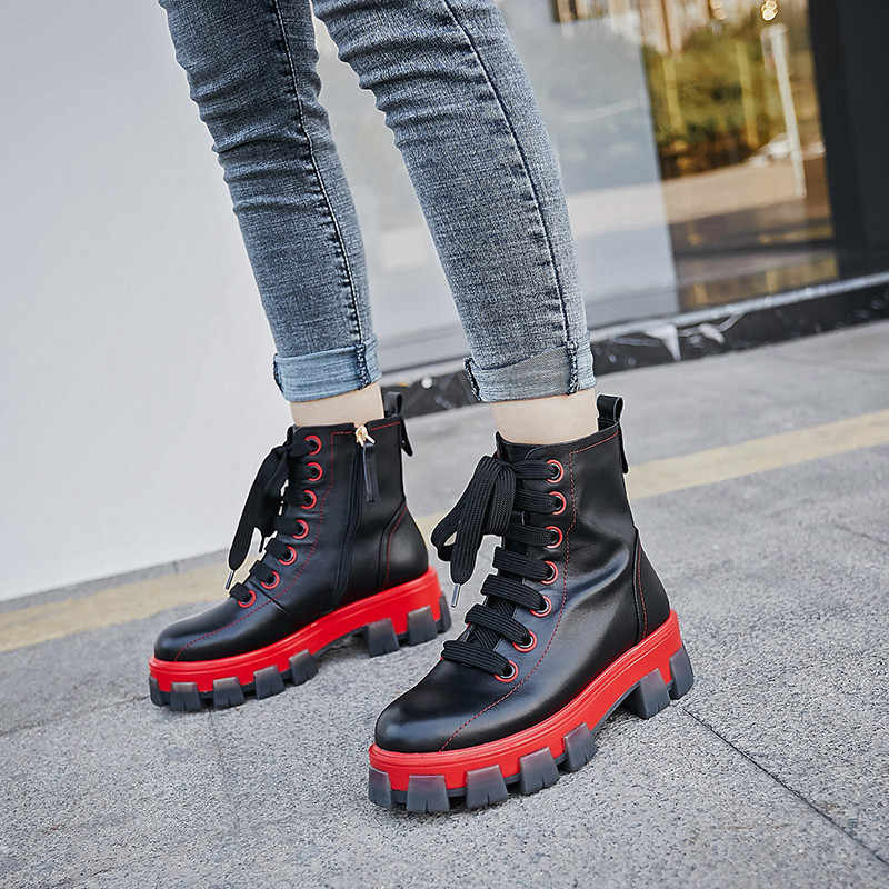 Fedonas chunky saltos femininos botas de tornozelo de couro genuíno plataforma de moda botas curtas esportes sapatos casuais mulher inverno botas quentes