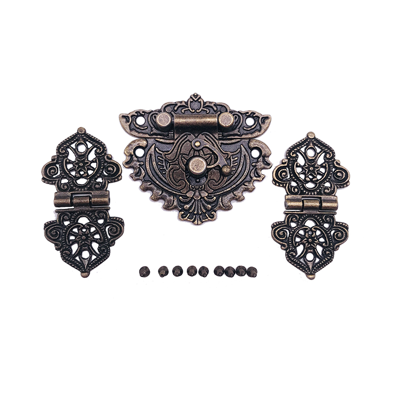 Antique Bronze Furniture Hardware Box Latch Hasp Toggle Buckle + 2Pcs Decorative Cabinet Hinges for Jewelry Wooden Wine Box