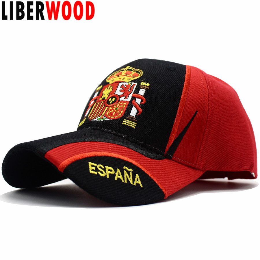 LIBERWOOD Brand hat Spain Espana Country Flag Baseball Cap Hats men female casual Sport Adjustable Cap Embroidered Spanish Gift(China)