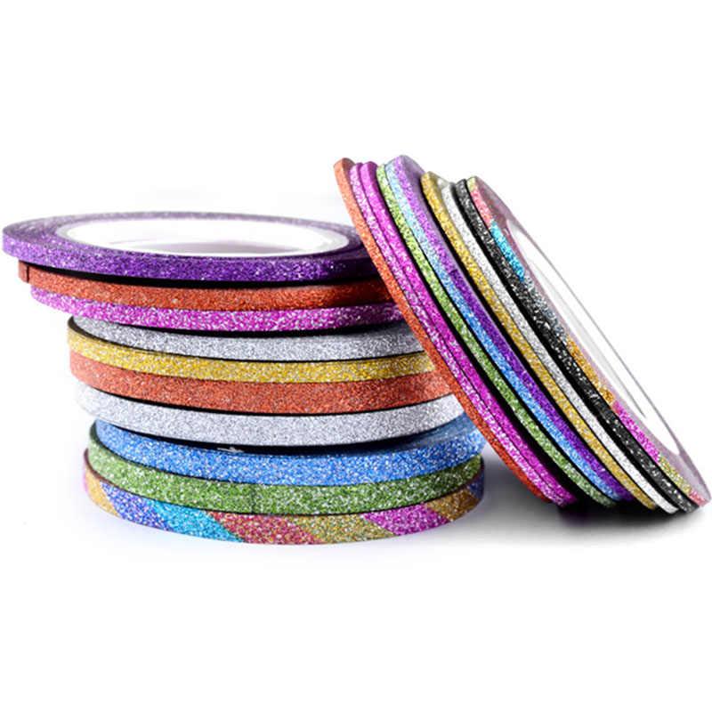 Kuku Seni Glitter Tips Emas Perak Stripping Tape Line Strip Dekorasi Nail Art Alat 1/2 Mm Stiker Kuku DIY Aksesoris Kecantikan