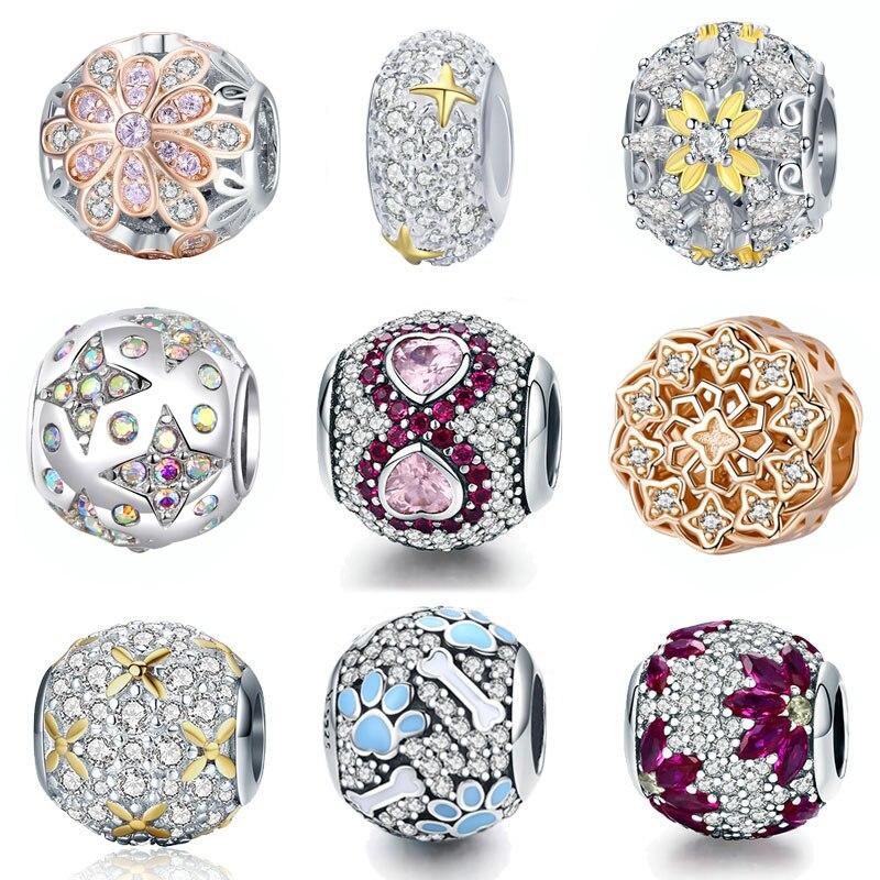 Bisaer 925 prata esterlina coração floco de neve folhas de bordo cz contas de cristal charme ajuste pulseira diy jóias de ouro presente da mãe