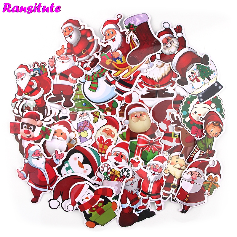 36pcs / Set Merry Christmas Children's Toy Sticker DIY Luggage Laptop Skateboard Motorcycle Mobile Phone Waterproof Sticker R715