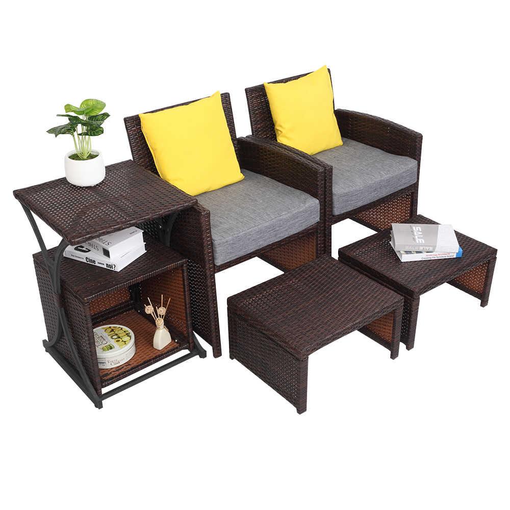 【US Warehouse】OSHION RFS-6 Set Von 6 2 Rattan Stühle 2 Pedale 1 Hohe Tabelle 1 Kleine Lagerung Tisch (Im Freien rattan sofa)