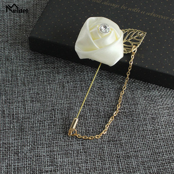 Meldel Boutonniere Groom Corsages Colorful Wedding Flower Men Brooch Buttonholes Groomsmen Pin Fake Pearl Accessories Prom Party