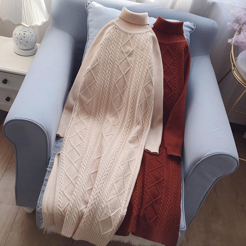 Autumn Warm Twisted Knitted Dress Women Turtleneck Elasticity Elegant Knitting Sweater Dresses Female 2019 Winter Casual Vestido