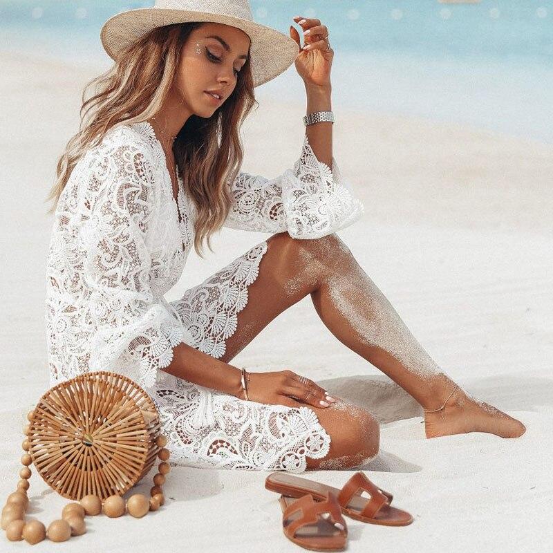 2019 New Dress Women Beach Dress Bikini Cover Up Floral Hollow Crochet Swimsuit V-Neck Long Sleeve Bathing Suit Beachwear Sexy