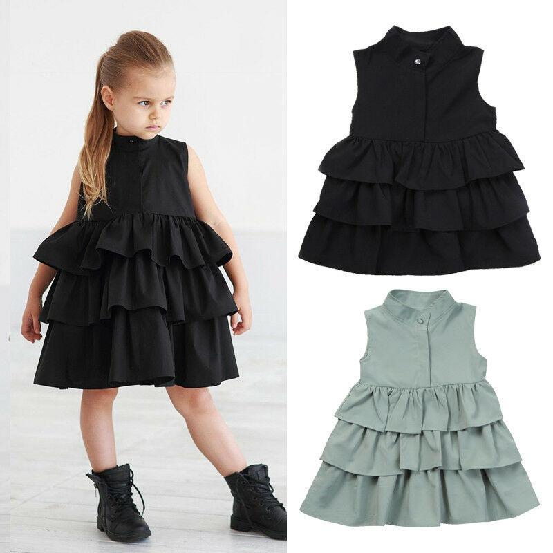 1-6 Years Kids Baby Girls Party Dress Sleeveless O Neck Cake Ruffle Tutu Bubble Dresses For Girls Summer Casual Dress Clothes