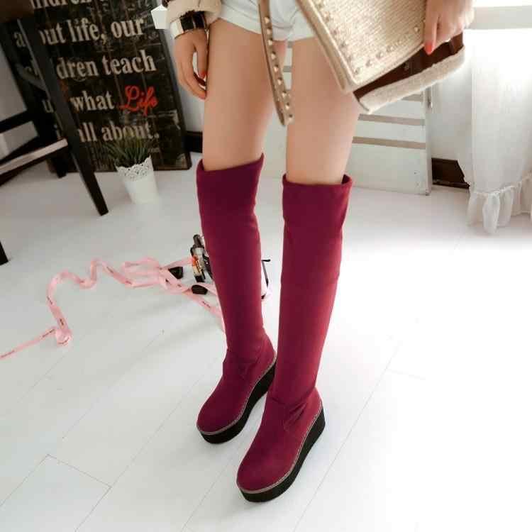 Kışlık botlar kadın gençlik süet PU kama topuk 6cm su geçirmez platform basit moda diz çizmeler kore elastik kumaş çorap çizmeler