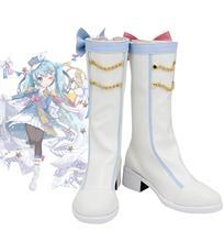 Vocaloid Miku Neve 2020 Stivali Cosplay Bianco Scarpe Su misura di Qualsiasi Dimensione per la Festa di Halloween Cosplay Accessori