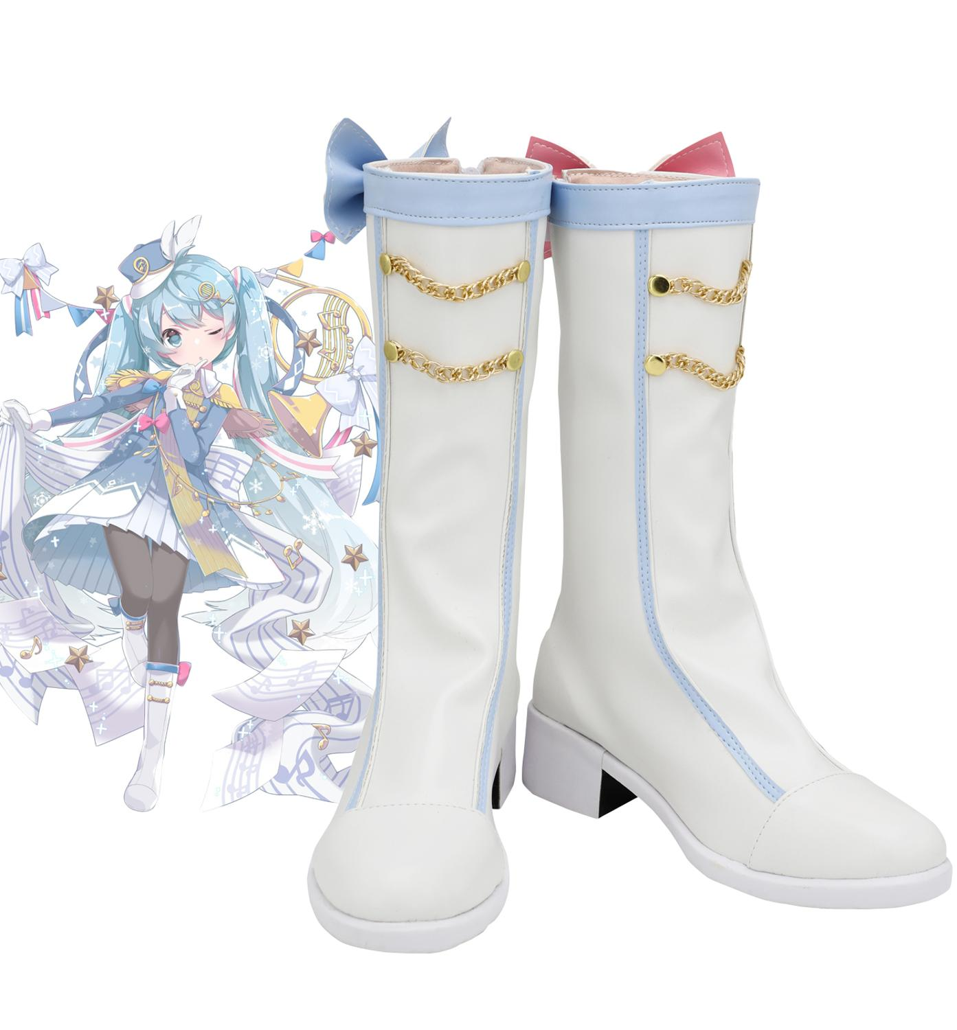 Vocaloid Snow Miku 2020 Cosplay Boots White Shoes Custom Made Any  Size for Halloween Party Cosplay AccessoriesShoes