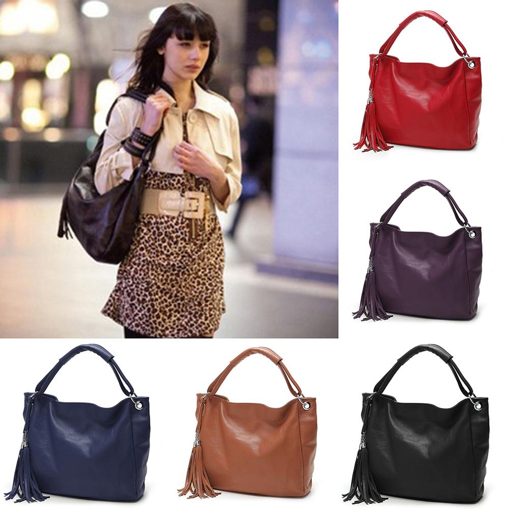 Women PU Leather Tassel Handbags Red Solid Messenger Bag High Quality Shoulder Crossbody Bags Punk Totes