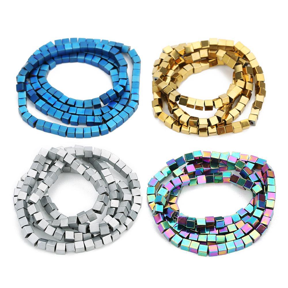 2/3/4mm couleur or/argent plaqué pierre naturelle enduit hématite Cube carré lâche perles despacement pour le marquage des bijoux à bricoler soi-même 15