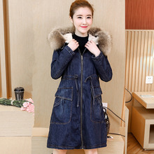 цена на Women Parkas Coat Denim Jacket Winter 2019 Fashion Warm Thicken Plus Velvet Overcoat Fur Collar Hooded Jeans Outerwear Female