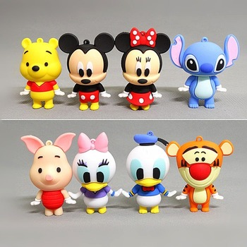 Disney Dolls Mickey Minnie Donald Duck Stitch Winne Pooh Pig Jumping Tiger Silicone PVC Figurine Toys Model Ornaments