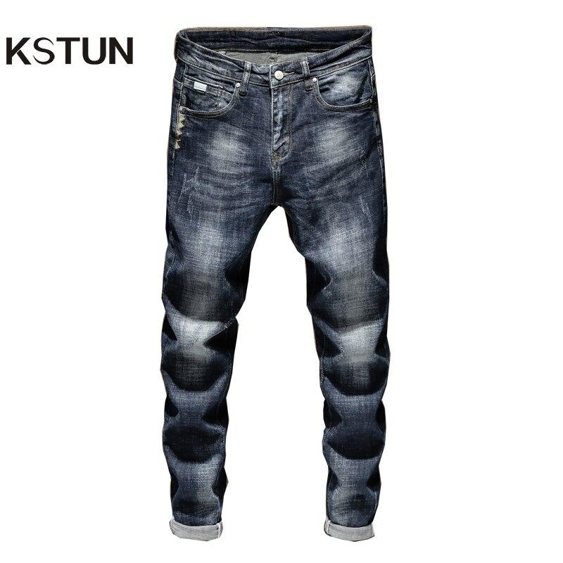 KSTUN Men Jeans Pants Slim Fit Mens Jeans Brand Blue Stretch Thick Casual Denim Pants Fashion Pockets Desingers Male Jeans Homme
