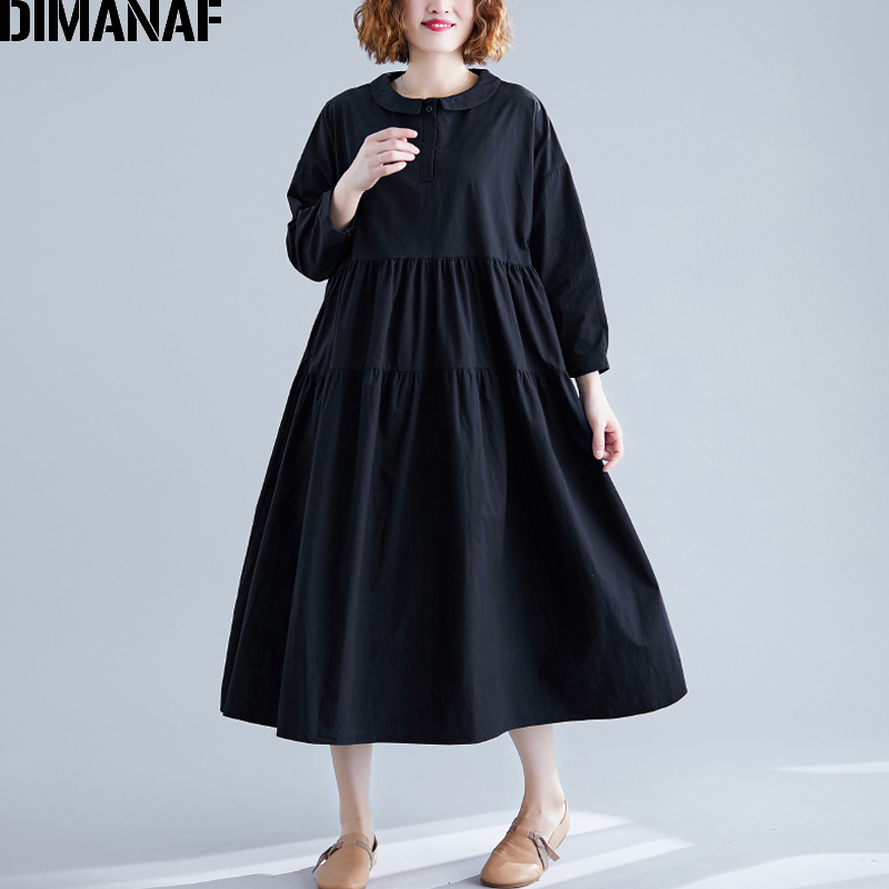 DIMANAF Plus Size Women Dress Loose A-Line Pleated Female Vestidos Lady Elegant Long Sleeve Dresses Solid 2019 Autumn Clothing