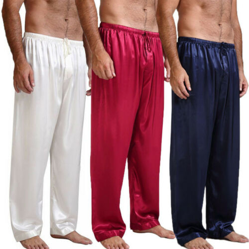 Mens Silk Satin Pants Sleep Bottoms Nightwear Sleepwear Trousers 4 Colors