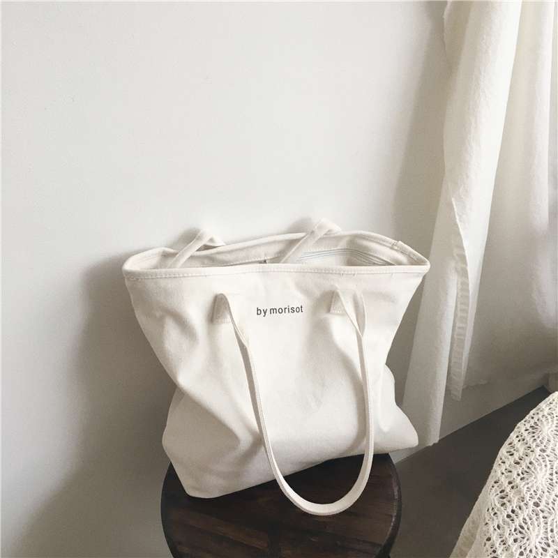 2019 New Korean Style White Large Capacity Canvas Bag Women 39 s Shoulder Bag Casual Hand Bag women bag in Shoulder Bags from Luggage amp Bags