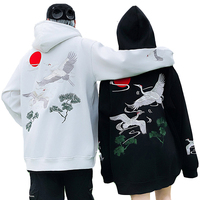 Japanese Crane Embroidery Men Hoodie Sweatshirt Hip Hop Hoodie Harajuku Streetwear Hooded Pullover Cotton Autumn Clothes J936