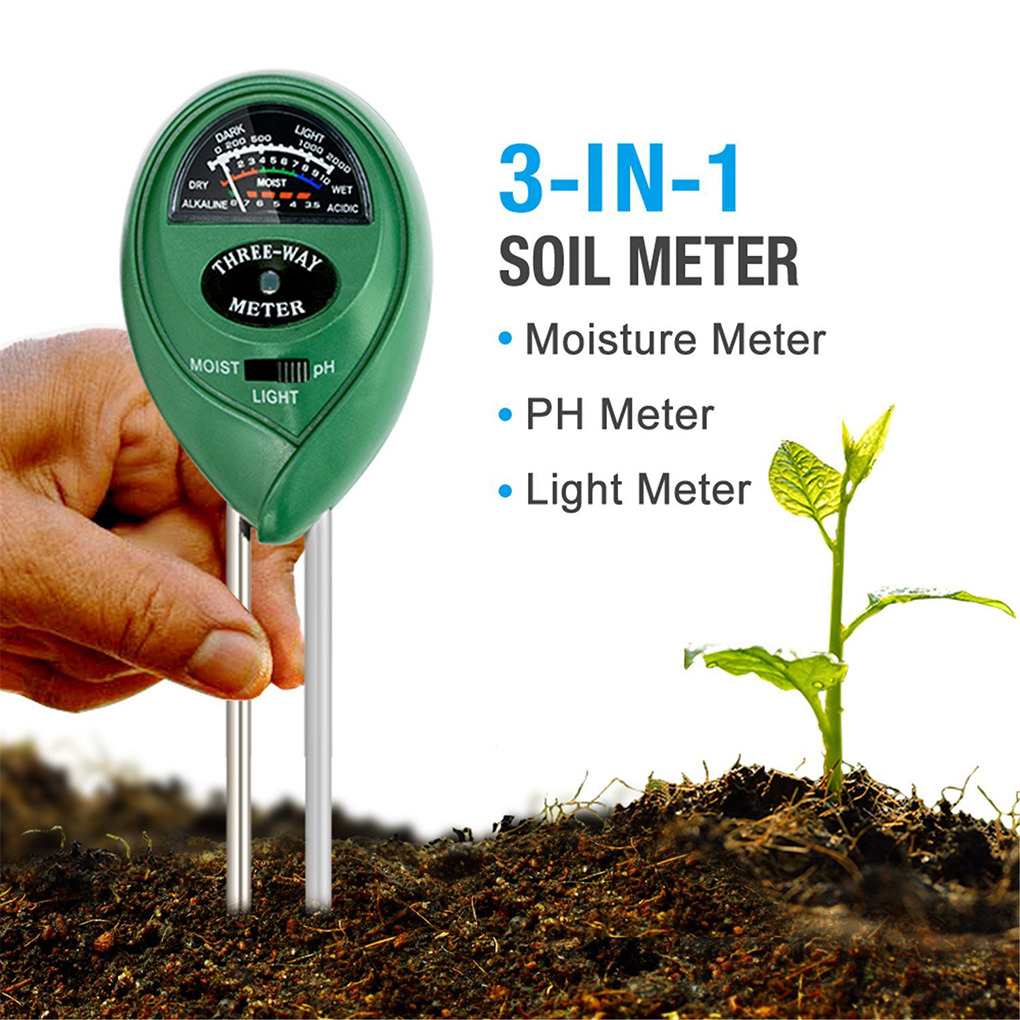 3 in1 Soil Water Moisture PH Meter Acidity Humidity Sunlight Light PH Test Garden Plants Flowers Moisture Testing Instrument