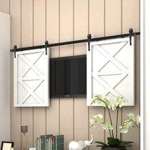 Mini armario de 24 a 72 pulgadas, herrajes para puertas corredizas de granero con forma de flecha para puerta doble