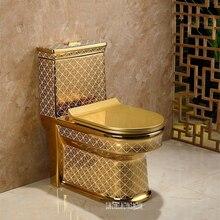 Керамический Цельный унитаз, креативный унитаз для ванной комнаты, супер циклонный тип, роскошный смывной унитаз с водой, Золотой унитаз