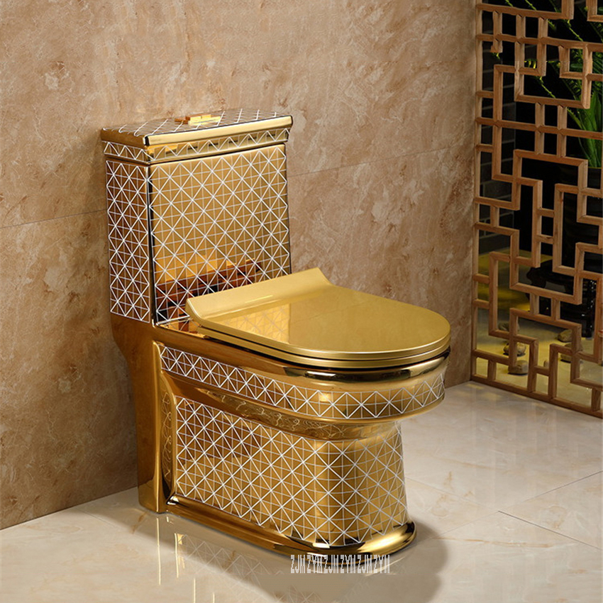 Ceramic One Piece Toilet Creative Bathroom Seat Toilet Super Cyclone Type Luxury Flush Toilet Water Closet Gold Closestool image