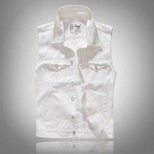 Fashion Streetwear Men Vest White Color Casual Sleeveless Punk Coats Spring Autumn Designer Hip Hop Denim Size M-5XL