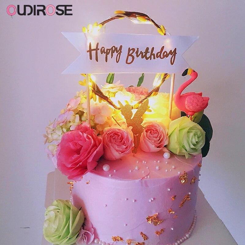 Party Dessert Cake Topper Happy Birthday Flag Flower Rattan Garland LED Light UK