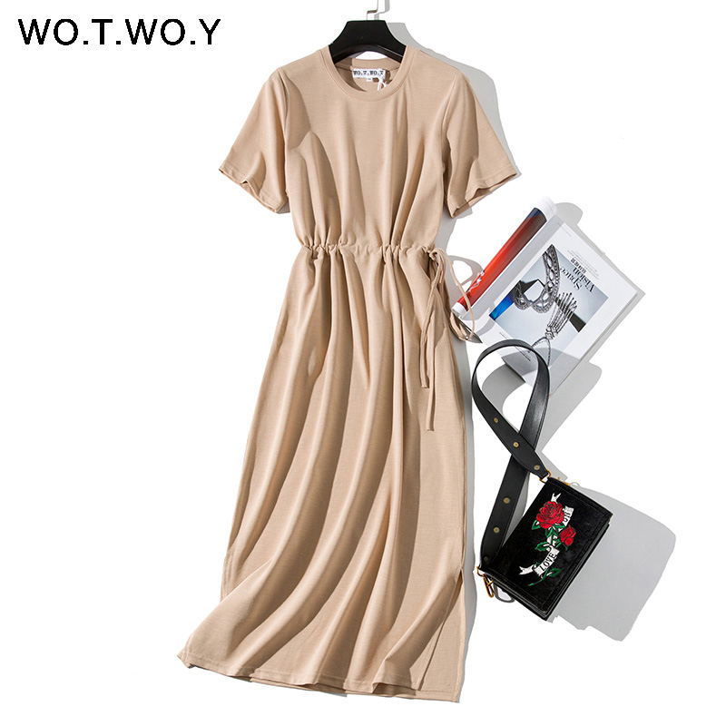 WOTWOY Summer Casual Solid Dress Women Sashes Waist Cotton Loose Dresses Women Pockets Mid-Calf Split Pink Dress Woman 2020 New(China)