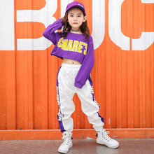Autumn Girls Jazz Dance Costume Children Hip Hop Hip-hop Set Children's Navel Long-sleeved Trousers Show Clothes Tide(China)