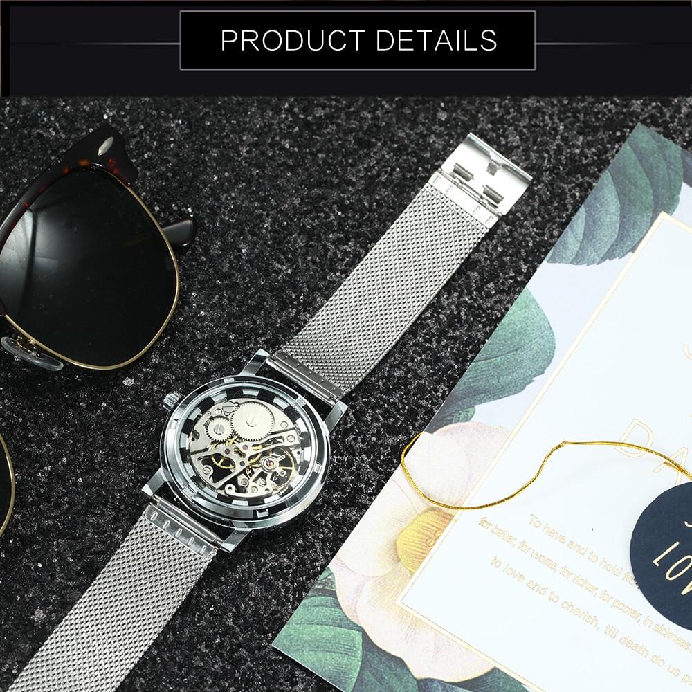 Image 4 - WINNER Official Fashion Women Watches Ultra Thin Mesh Strap Top Brand Luxury Skeleton Mechanical Elegant Ladies Wristwatch GirlsWomens Watches   -