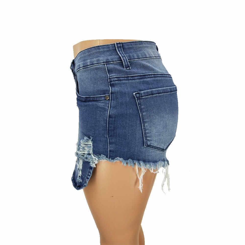 Nowy nabytek w stylu casual, letnia gorąca sprzedaż denim szorty damskie wysokie talii futerkowe otwory na nogi Plus rozmiar sexy krótkie dżinsy