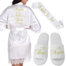 Nombre Personalizada traje Kimono de encaje de las mujeres de la boda batas de dama de honor de la novia despedida de soltera