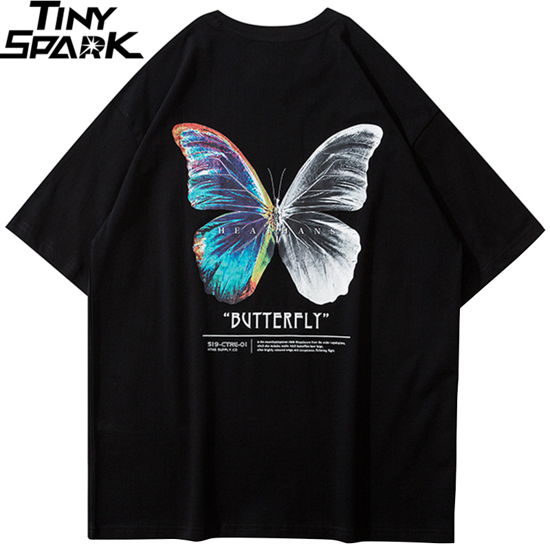 Hip Hop Oversize T Shirt Men 2020 Streetwear Harajuku Color Butterfly Tshirt Short Sleeve Cotton Loose HipHop T-Shirt Plus Size