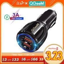 Qgeemデュアルusb qc 3.0車の充電器急速充電3.0電話充電車急速充電器2ポートusbポータブル充電器iphone xiaom