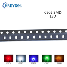 100pcs 0805 SMD LED Electron Component Blue Yellow White Green Red Orange Purple RGB High Light Emitting Diode DIY Kit