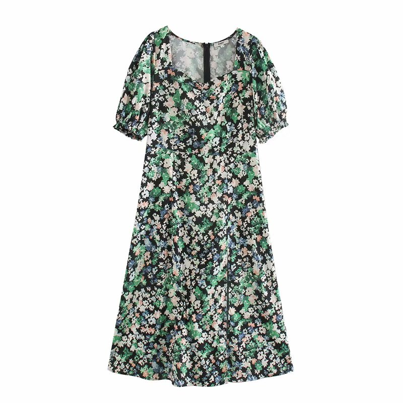 New Women Vintage Puff Sleeve Square Collar Print Split Dress Office Lady Back Zipper Midi Vestidos Chic Leisure Dresses DS3419