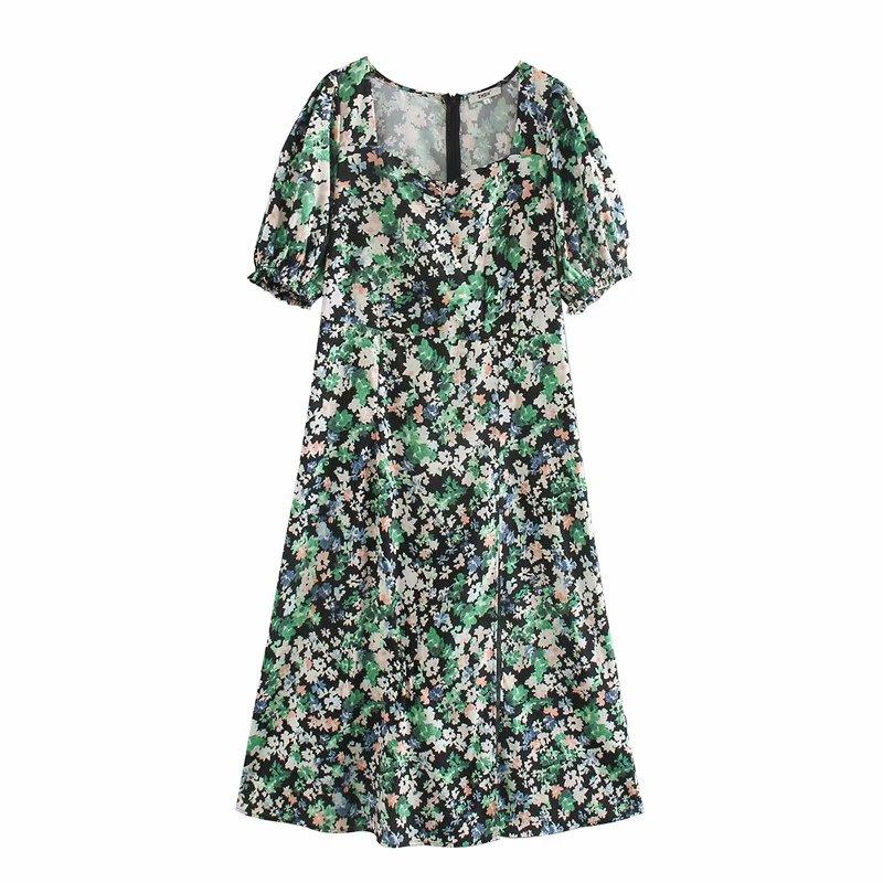 New Women Vintage Puff Sleeve Square Collar Print Split Dress Office Lady Back Zipper Midi Vestidos Chic Leisure Dresses DS3419