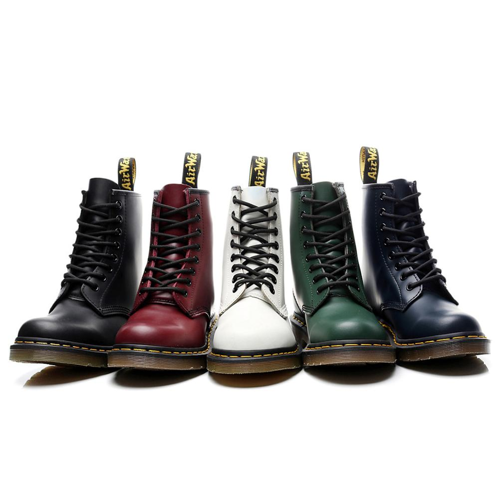 Men Shoes Martens-Boots Motorcycle-Shoes Work Ankle Winter Women Genuine-Leather Casual