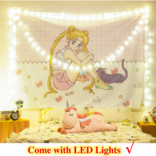 Tapestry Background-Cloth Wall-Hanging Room-Decor Led-Light Bedroom Dormitory Girls Bedside