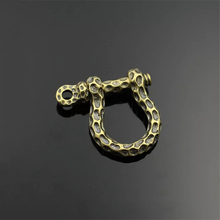 1pcs Antique Solid brass D bow shackle key chain ring Fob clip connecting hook Leather craft DIY accessories