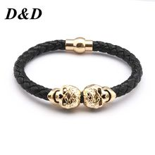 D&D Hot Selling Fashion Braided Leather Bracelets Gold Skull Bracelet Punk Wrap Bracelet Women Men scott spark 760 2016